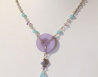 Lavender & Aqua Button Necklace: Vintage Lavender Button with Aqua and Amethyst Beads