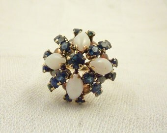 Vintage 14K Harem Princess Domed Cocktail Ring with Opals & Sapphires Siam Ring Size 7 1/2