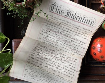 Antique Handwritten Indenture from 1878 - Genuine Old Manuscript - Barton Township, Ontario