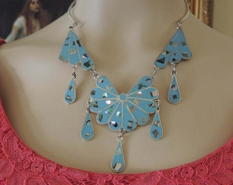 Alpaca Mexico Baby Blue Enamel Necklace and Earring Set