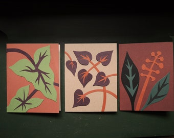 Tropical Foliage botanical cut paper blank note cards gift for gardener set of three with coordinating envelopes