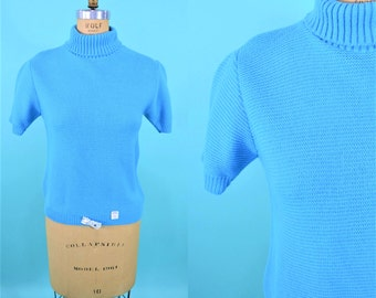 1960s blue sweater | NWT knit turtleneck top | vintage short sleeve sweater M