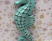 Seahorse Cast Iron Nautical Sea Horse Wall Decor Art Coastal Chippy Sea Animal Shabby Elegance Beach Weathered Soft Cottage Blue Decor