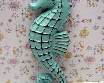 Seahorse Cast Iron Blue Cottage Shabby Chic Nautical Beach Wall Home Decor