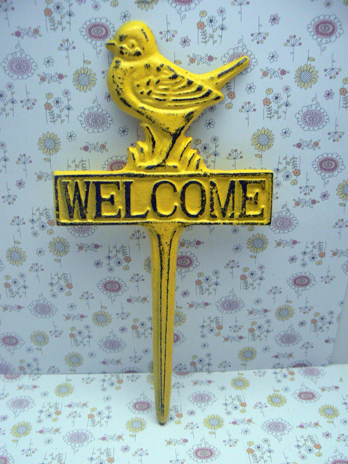 bird welcome cast iron yard stake shabby chic yellow garden patio