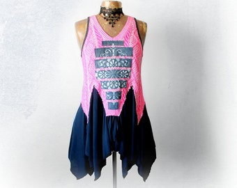 Hot Pink Tank Top Tattered Shirt Junk Gypsy Clothing Reconstruct Top Boho Chic Clothes Flowy Layer Kerchief Scarf Shirt Eco Wear M L 'TALIA'