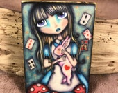 Lost in Wonderland - Aceo print mounted on Wood (2.5 x 3.5)  by Elise Hartmann