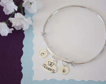Mom Bangle Bracelet Silver, Initial Bangle, Expandable, Sterling Silver, Nana Bracelet, Mommy Charm, Friendship, Monogram Bracelet, BFF