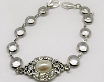 Pearl and Rhinestone Medical ID Tag Alert Replacement Bracelet Strand Bracelet for your tag / Allergies / Heart / Diabetes