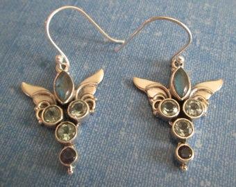 EARRINGS - Vintage - LABRADORITE - IOLITE - Blue Topaz - Angel Wings - French Hook - Sterling Silver - 925 -Dangle Earrings423