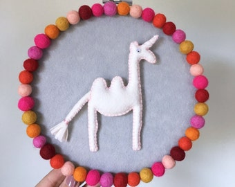 Embroidery hoop art, Camelcorn hoop, magical creature, camel unicorn, modern whimsical decor, hand sewn decor, multicolor pompoms, OOAK