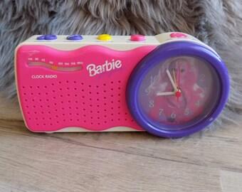 1995 Mattel Barbie for girls Alarm Clock Am/Fm Radio Hot pink/Purple works