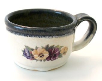 Vintage Style Mug. Stormy Blue. Glossy White. Pansies. Coffee. Cocoa. Tea. 10oz.