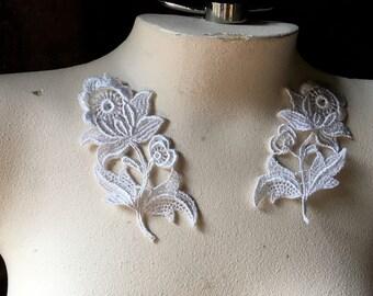 White Lace Applique PAIR for Bridal, Garments, Costume Design PR