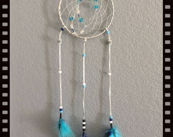 "6"" Silver and Blue Dream Catcher"