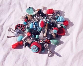 Native American TREASURE BRACELET, OOAK, Cha-Cha Charm Bracelet, Handmade, Sterling Silver, genuine gemstones