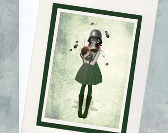 Steampunk Greeting Card - Art Greeting Card - Steampunk Art - Soldier Girl Art - Bees Greeting Card - Bees Art - Gas Mask Girl - Glory