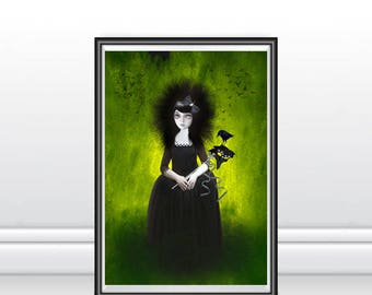 A3 Art Print - Large Print - Big Eyed Art - Wall Decor - Masquerade Merlo