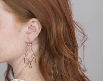 Snake Head Dangles. Statement Earrings. Rose Gold. Brass Chandelier Earrings. Large Metal Earrings. Boho Style. Snake Dangles. Gold Fill.