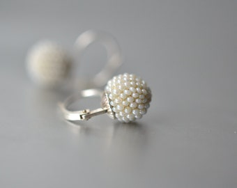 bridal earrings pearly beads silver lever back