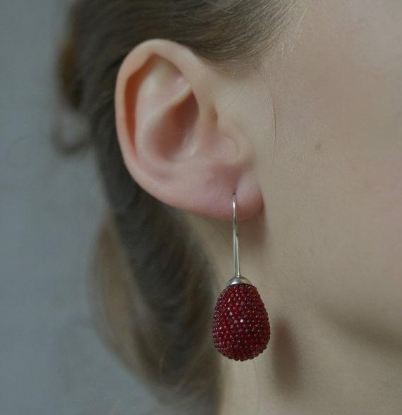 dangle earrings drops  garnet red silver