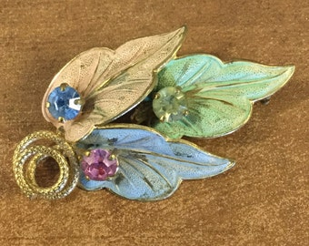 Serene Rhinestone and Pastel Hued Hand Painted Leaf Brooch Pin Gold Tone Metal 1960's 1970's Realistic Woodland Inspired