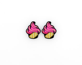 Pink Cupcake Post Earrings - Tattoo Style Sweets