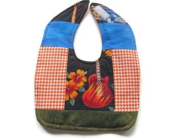 Surf Rock Baby Bib - Guitar Baby Bib - Surfboard Bib - Patchwork Surfing Baby Bib - Woody Car Bib