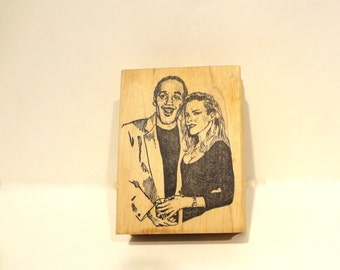 Vintage Rare Rubber Stamp O J & Nicole Simpson Viva Las Vegas Stamp Company Rubber Mounted On Wood Some Ink Stains OOAK
