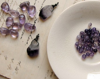 amethyst gemstone bead destash - vintage polished drops, faceted charms and tiny round spacers - bead soup