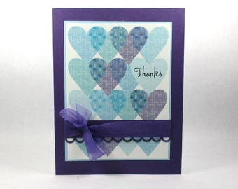 Thank you cards, hearts, I love you, Thanks, handmade thank you cards