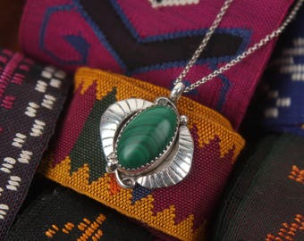 "navajo sterling + malachite pendant 18"" necklace native american silver charm rolo chain"