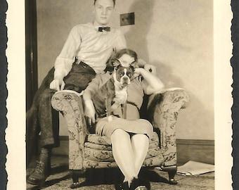 Boston Terrier Dog & Family - 1930s Snapshot Photo