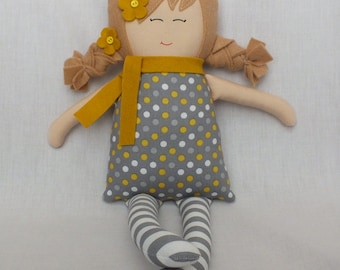 Handmade doll, rag doll, cloth doll, baby doll, gift for a girl, blonde hair, polka dots, grey and yellow dress, soft doll, baby