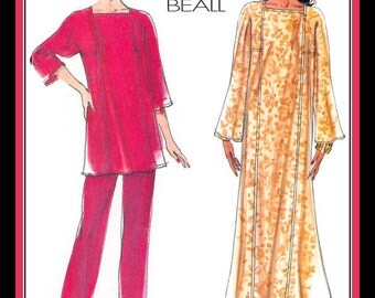 ELEGANT LOUNGE WEAR-Vogue Designer Sewing Pattern-Evening Length Caftan-Princess Seams-Easy-Loose Fit-Top-Pants-Uncut-Size 8-12-Rare