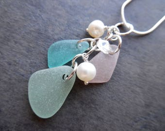 Sea Glass Pink Necklace Aqua Blue Beach Sea Glass Jewelry Pendant Sterling Sea Foam