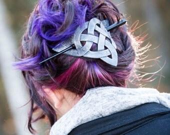 Celtic Trinity Knot Extra large Hair Barrette Renaissance, SCA, LARP