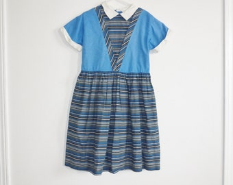 Vintage Royal Blue and Black Girl's Dress