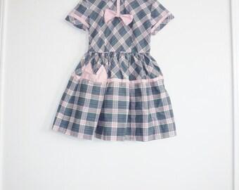 Vintage Pink and Grey Plaid Dress