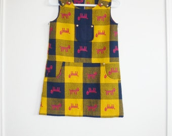Vintage Girl's Mustard and Navy Dress