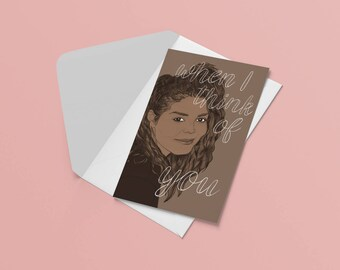 Janet Jackson Postcard - When I Think of You // RnB lover gift, song lyric art, illustrated portrait, valentines card, romantic gift for her