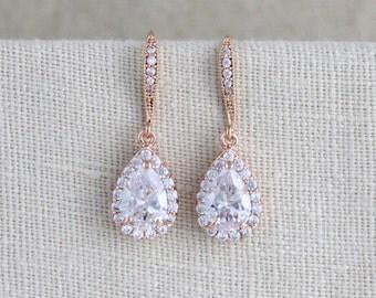 Crystal Bridal Earrings, Rose gold earrings, Bridal jewelry, Swarovski crystal earrings, Bridesmaid earrings, Wedding earrings, Crystal drop