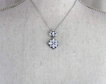 Crystal Wedding necklace, Wedding jewelry, Swarovski Bridal necklace, Art Deco necklace, Antique silver necklace, Swarovski crystal necklace