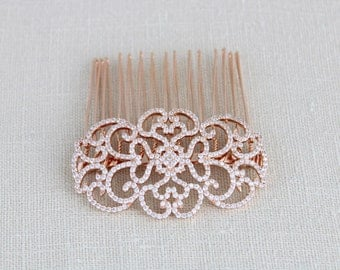 Rose Gold Hair comb, Bridal Hair comb, Wedding headpiece, Rose Gold headpiece, Wedding hair accessories, Crystal hair comb, Bridal hair clip
