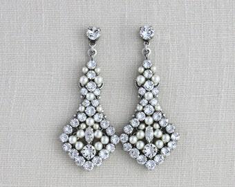 Crystal Bridal earrings, Wedding jewelry, Statement Wedding earrings, Beaded earrings, Swarovski earrings, Chandelier earrings, Art Deco