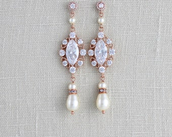 Rose Gold Bridal earrings, Pearl Wedding earrings, Wedding jewelry, Long Bridal earrings, Crystal earrings, Vintage style earrings, ELLA
