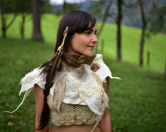 Felt Feather Cowl-Native American Indian Shawl-Primitive Scarf-Woodland Scarf-Natural Shawl-Native Cowl-Wool Cowl-Feather Costume OOAK