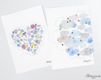 Heart cloud watercolor postcard, Cloud illustration art card, Dot heart card, Soft pastel card, Birth announcement card, Pastel stationery