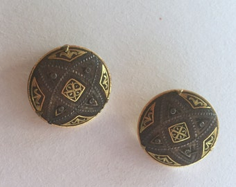 Vintage Two Tone Clip On Earrings