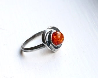 """Amber Ring, Size 6, Oxidized Sterling Silver - """"Forest Aflame"""" from CircesHouse on Etsy"""